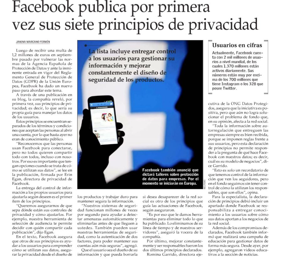 Principios de privacidad en Facebook.