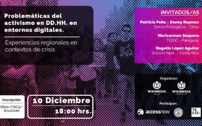 Patricia Peña y Danny Rayman participaron del conversatorio «Problemáticas del activismo en DD.HH» organizado por Wikimedia Chile